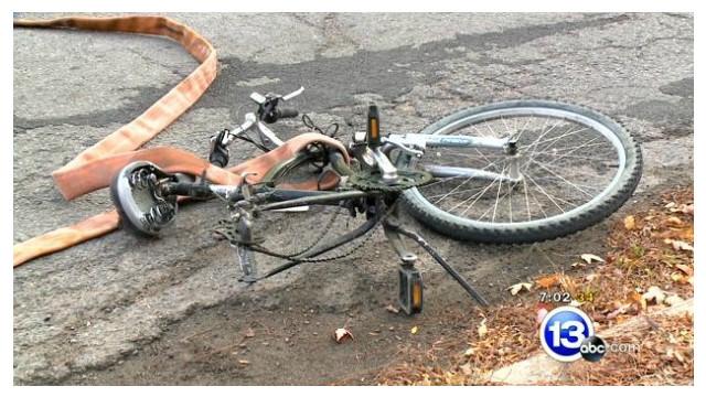 Hose Falls off Ohio Pumper, Hits Bicyclist