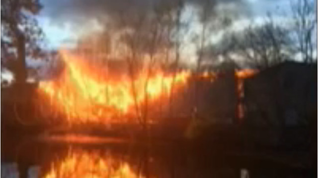 Lumber Yard Catches Fire in New York