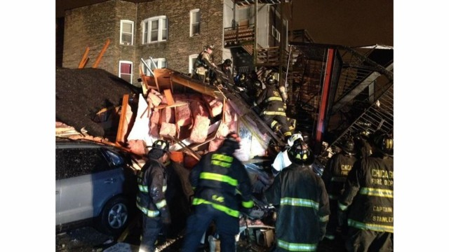 Building Collapses in Chicago, Firefighters Rescue Occupants
