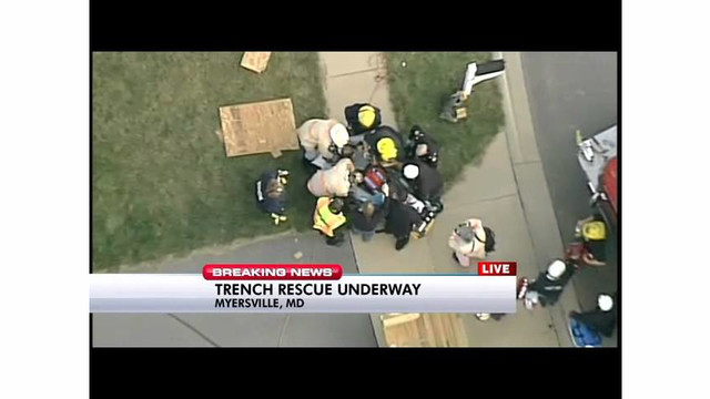 Trench rescue teams at work in Maryland