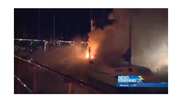 Catamaran Burns in California