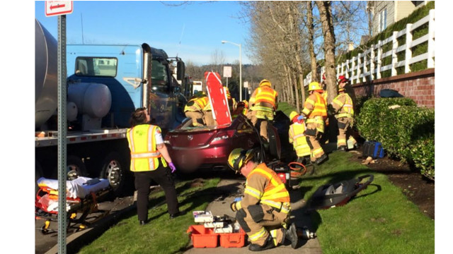 Photo Story: Driver Hit in Cement Truck Crash