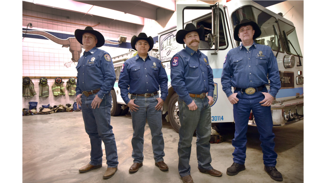 In Denim, Fort Worth Firefighters Protect Stock Show