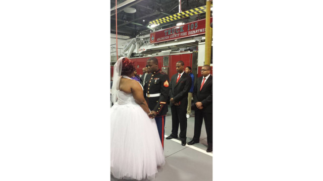 Marine Gets Hitched in Virginia Fire Station