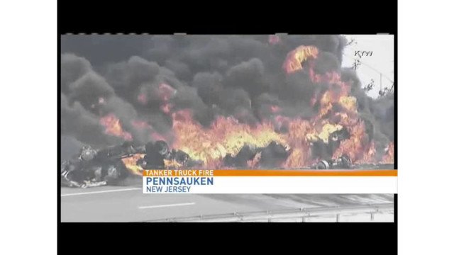 Gas tanker burns in N.J.