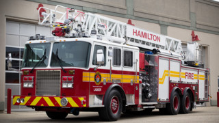 Hamilton, Ontario Firefighters Get Straight Stick Aerial