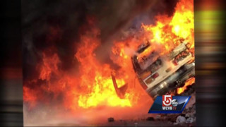 Boston EMS SUV catches fire, explodes