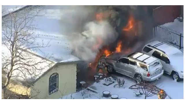 Video: Texas Firefighters Battle Snow, Flames