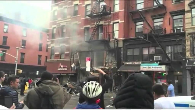 Off-duty Firefighters Check NYC Explosion Scene