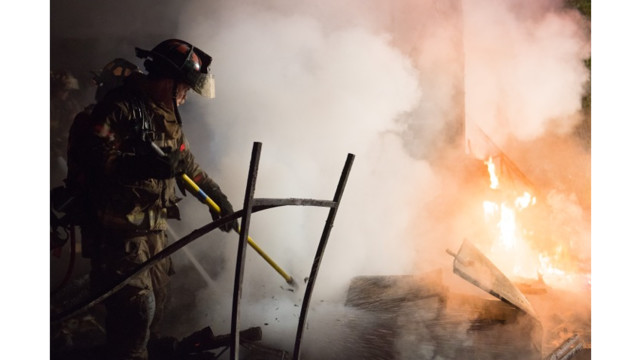Firefighter Training Gas Fed Fire In Fort Worth Firehouse