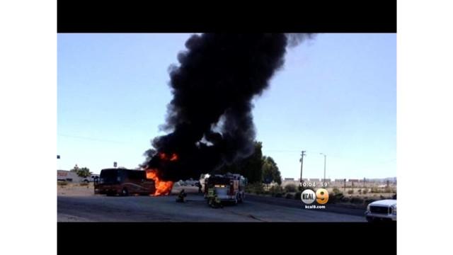 Motor Coach Burns on Calif. Highway