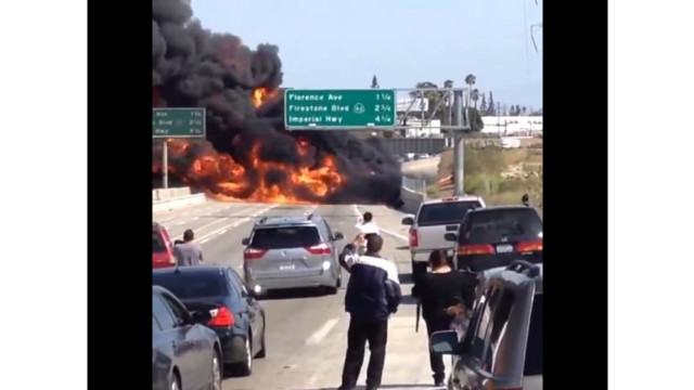 Flames Engulf Tanker on Calif. Roadway