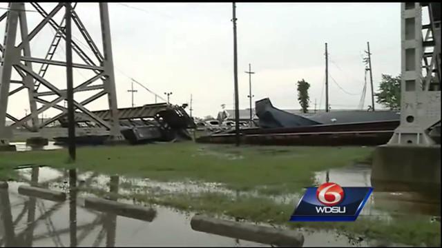 Rail Cars Blown off La. Bridge