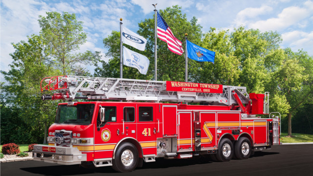 new ladder aerial fire apparatus built by pierce mfg