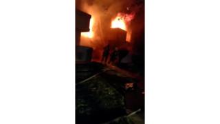 LA County Firefighters Battle Blaze