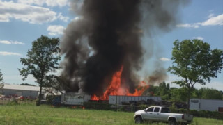 IN Fire Crews Combine to Extinguish Pallet Blaze