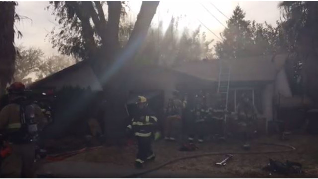 CA Firefighter Falls Through Roof at House Fire