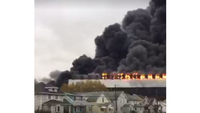 Massive fire engulfs building at former NY steel mill site