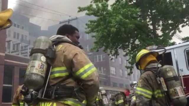 Firefighters battle blaze at building under construction