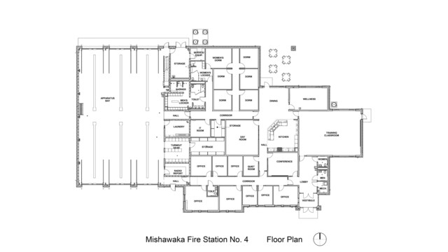 In quarters mishawaka in fire station no 4 fire station photography and plans for Fire station floor plans design