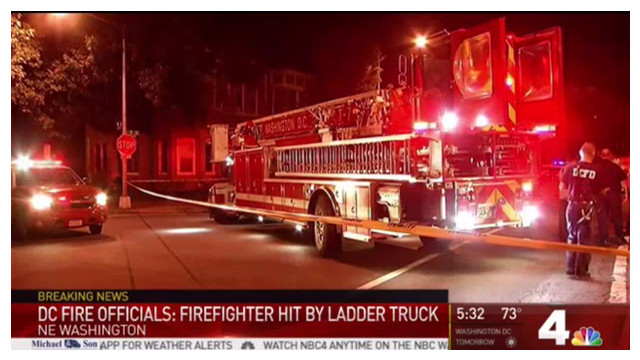 DC Firefighter Struck by Fire Truck, Critically Injured