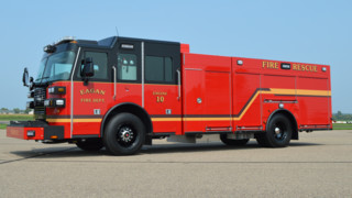 Sutphen corp pumper aerial tower ladder custom fire apparaus apparatus eagan mn fire dept gets blacked out stainless steel pumper sciox Gallery