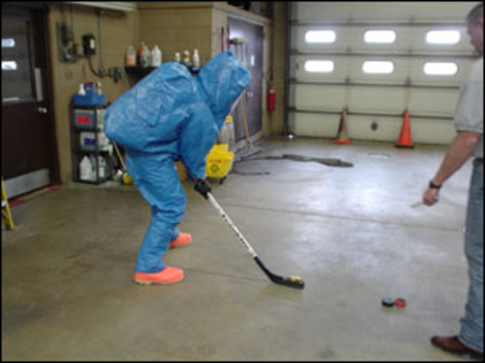 Firefighter Training In Level A Hazardous Material Suits