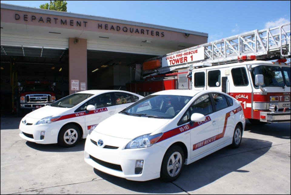 Credit: Courtesy Of Ocala Fire Rescue. Ocala Fire Rescue In Florida Placed  Two Toyota Prius Hybrid Vehicles ...