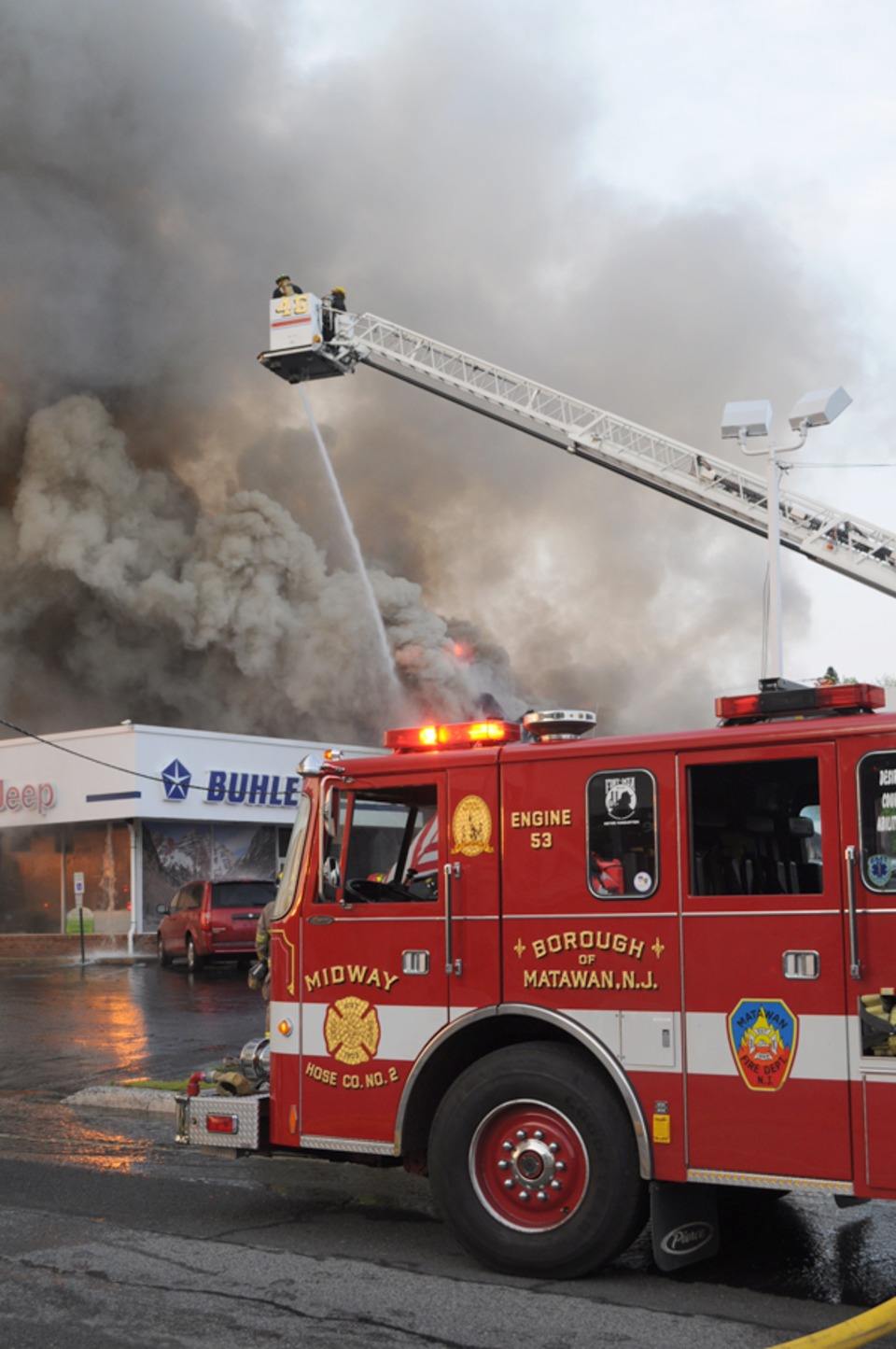 New Jersey Firefighters Battle Fire At Buhler Chrysler