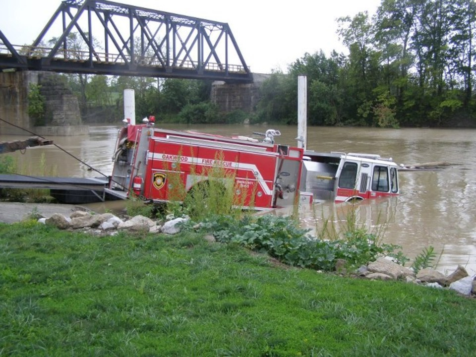 Oakwood Fire Engine Becomes Submerged in River During Equipment Testing