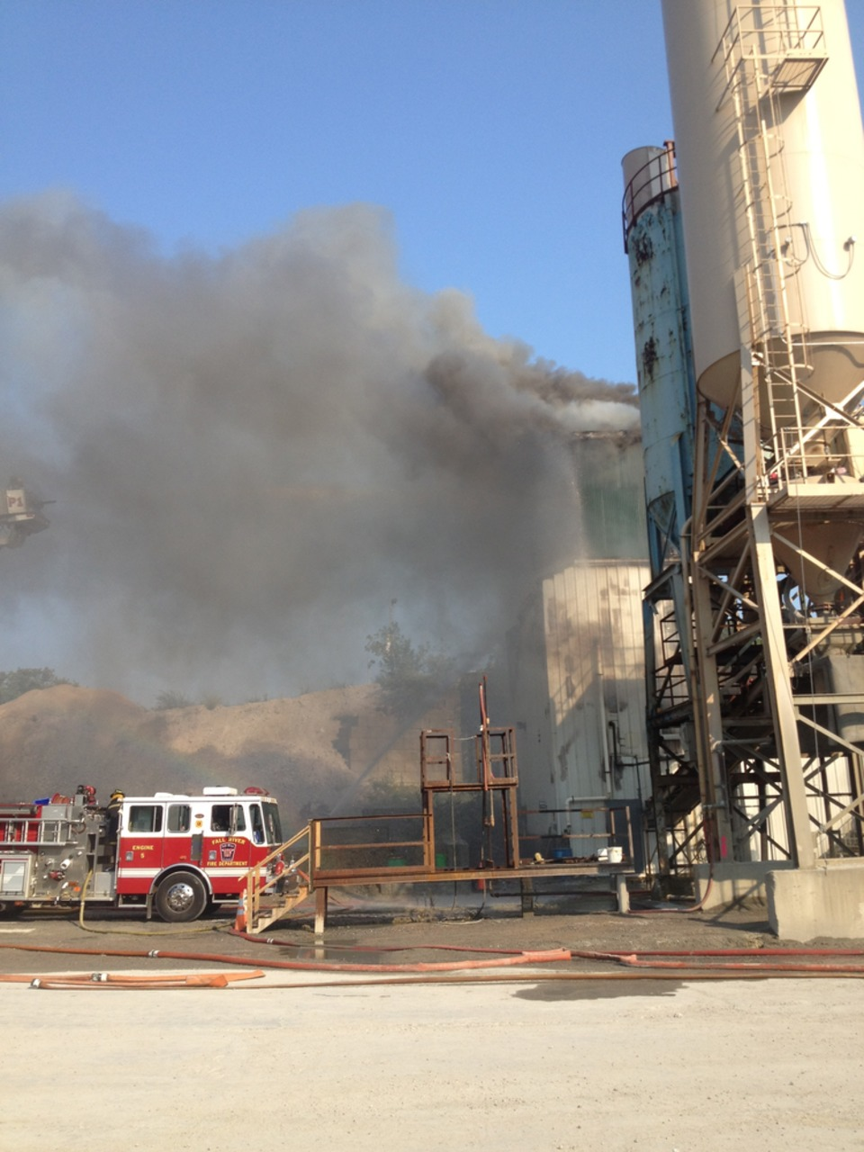 Firefighter Contain Fire At Fall River Ready Mix Concrete