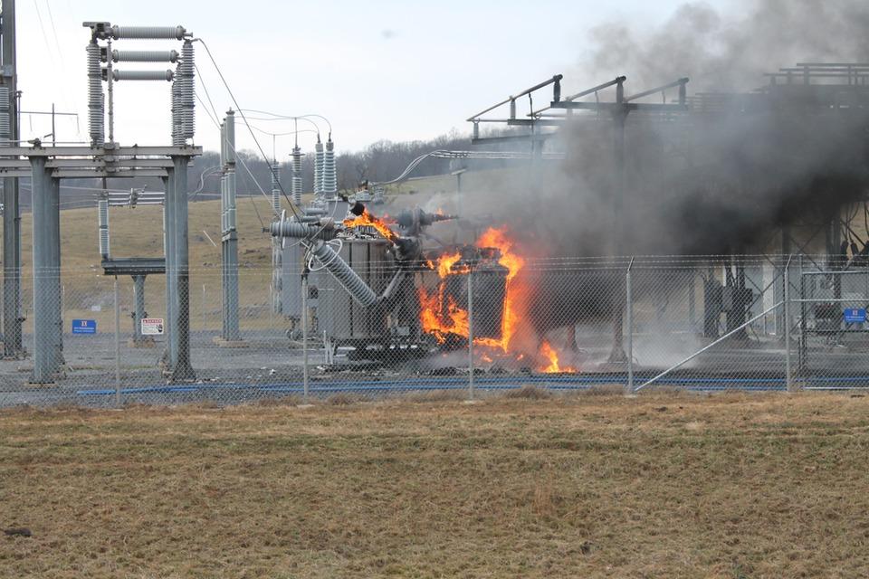 Dominion Power Substation Fire In Churchville Va