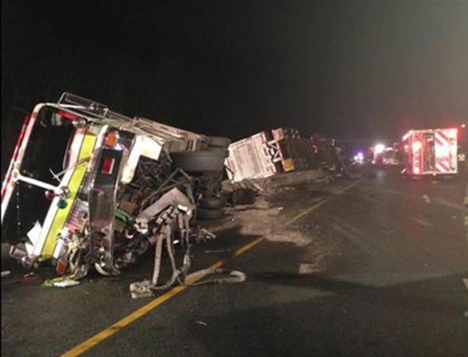 Four Maryland Firefighters Hurt in Fire Truck Crash