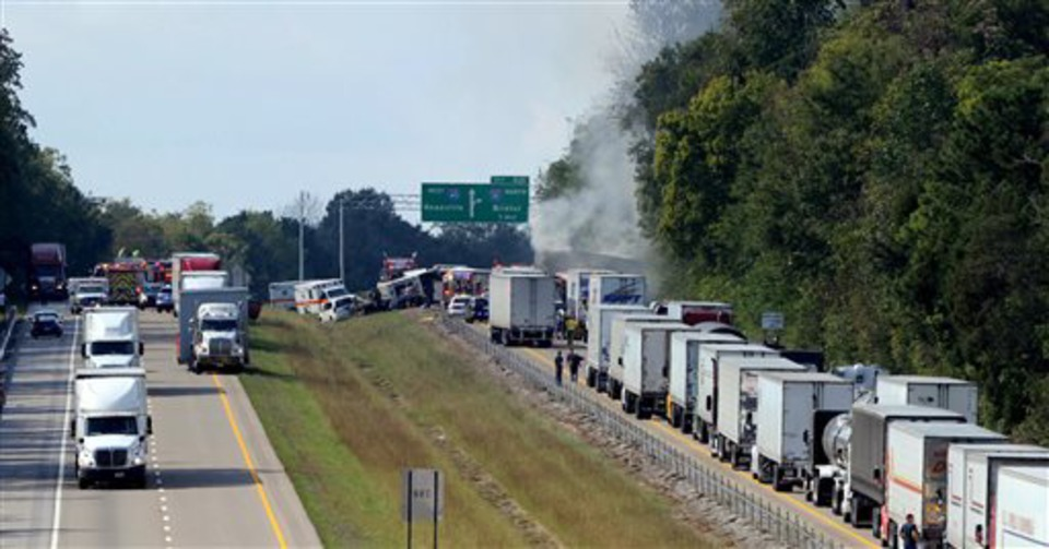 Charter Bus Crashes on Interstate 40 in Statesville, 8 Dead