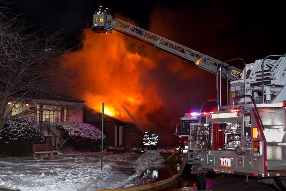 Skokie Firefighters Battle Orchard Village Fire