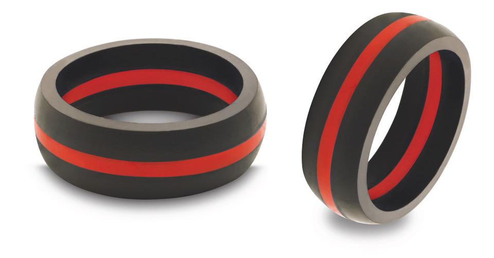 Qalo Firefighter Wedding Band Rubber New Pending Content in PPE