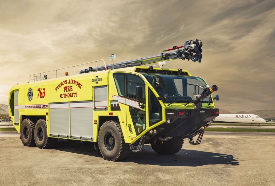 Oshkosh delivers its 100th snozzle high reach extendable turret to oshkosh airport products has delivered an oshkosh striker 6 x 6 equipped with a snozzle high reach extendable turret hret to tucson international airport freerunsca Choice Image