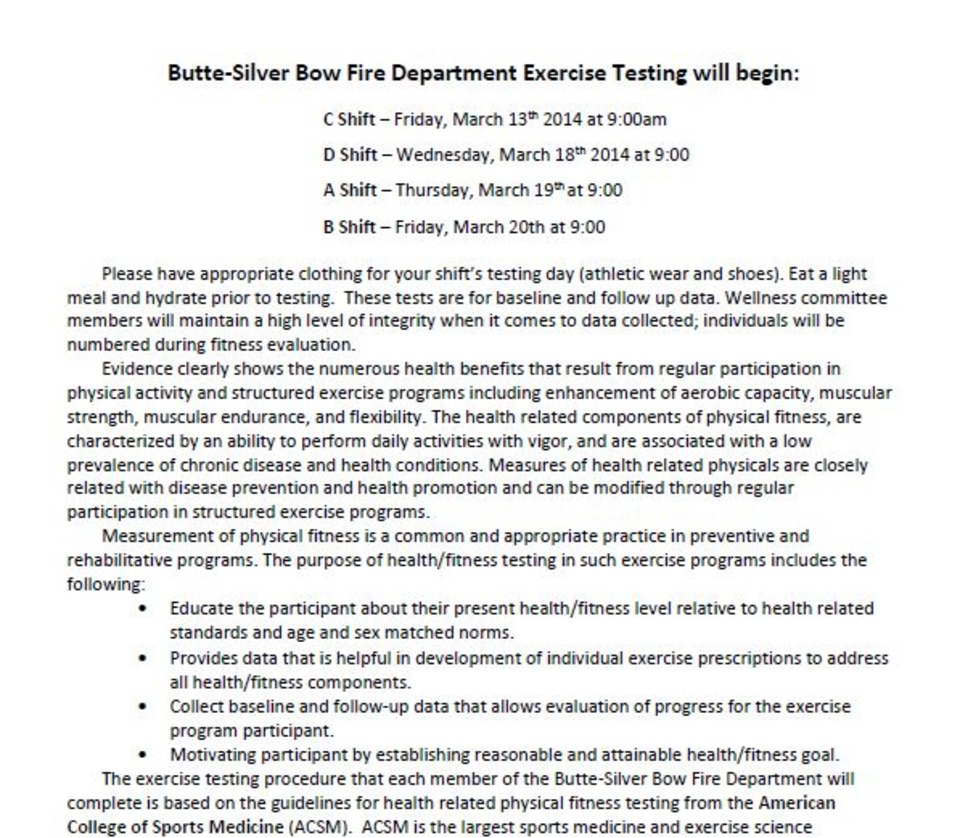Butte-Silver Bow Fire Department Exercise Testing Letter