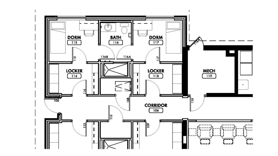 Designing Fire Station Bunkrooms and Sleeping Quarters - Firehouse on ambulance design plan, firehouse interior design, firehouse floor plans dimensions,