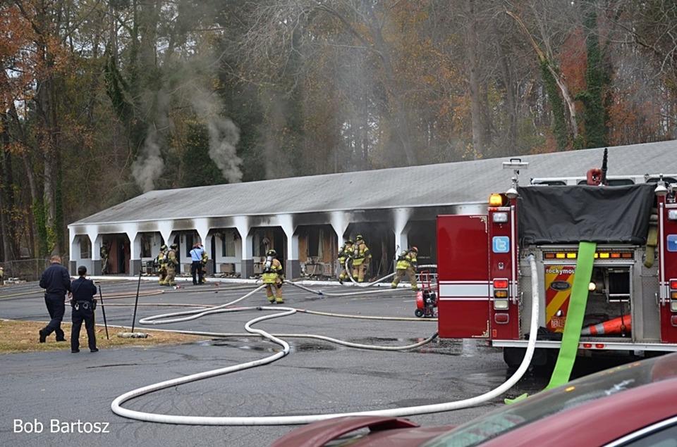 Rocky mount firefighters contain motel fire firefighter for Rocky waters motor inn fire damage