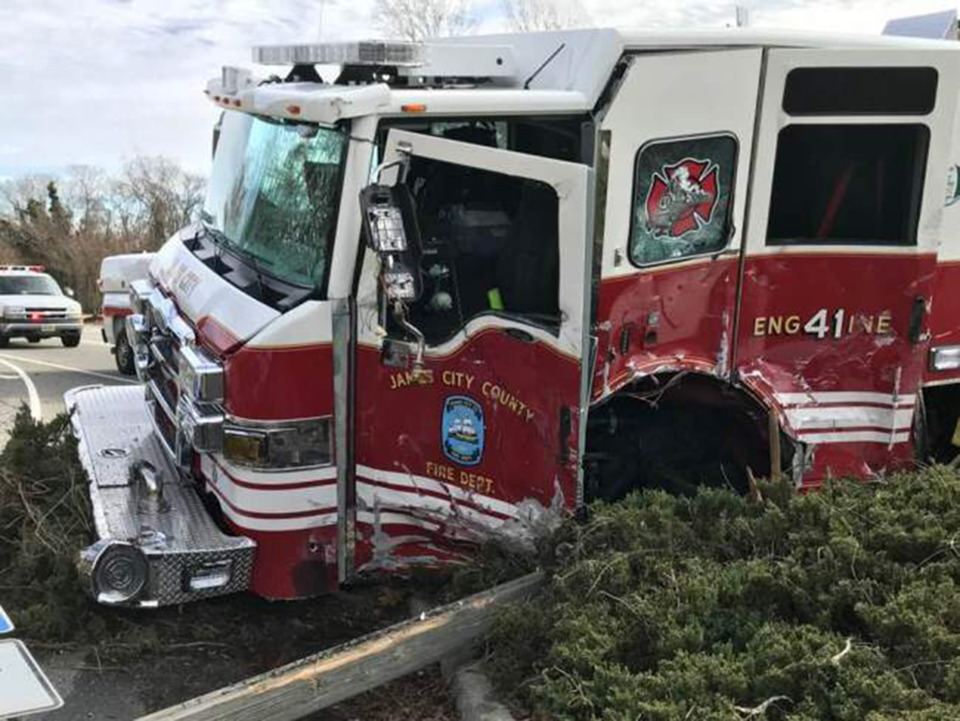James City County Fire Apparatus Crashes into Septic Truck