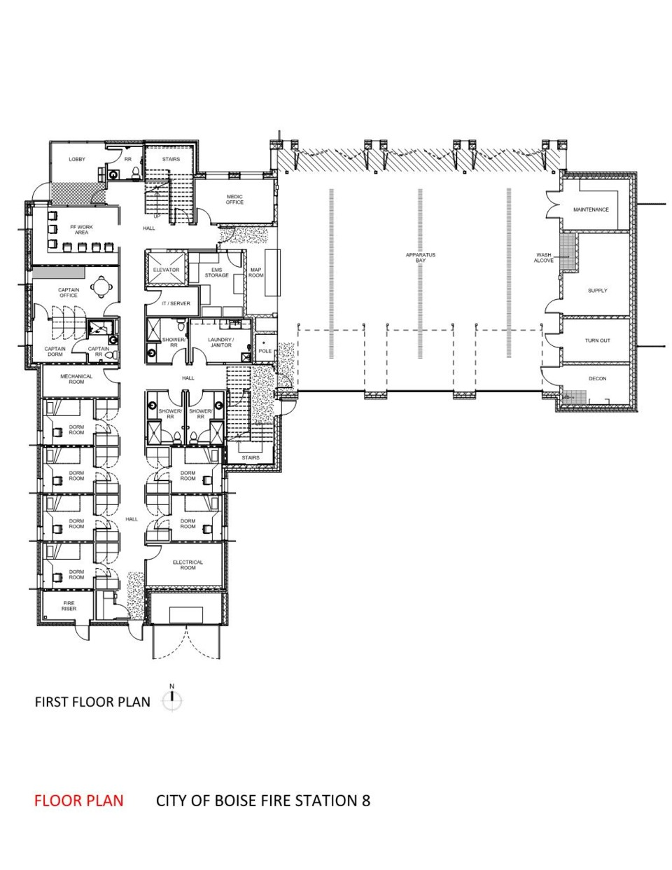 Fire station designs boise fire station 8 firehouse architects and plans for Fire station floor plans design