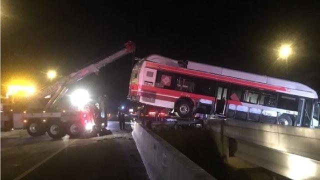 Jacksonville FL Bus Accident Wreck Dangling Over Median