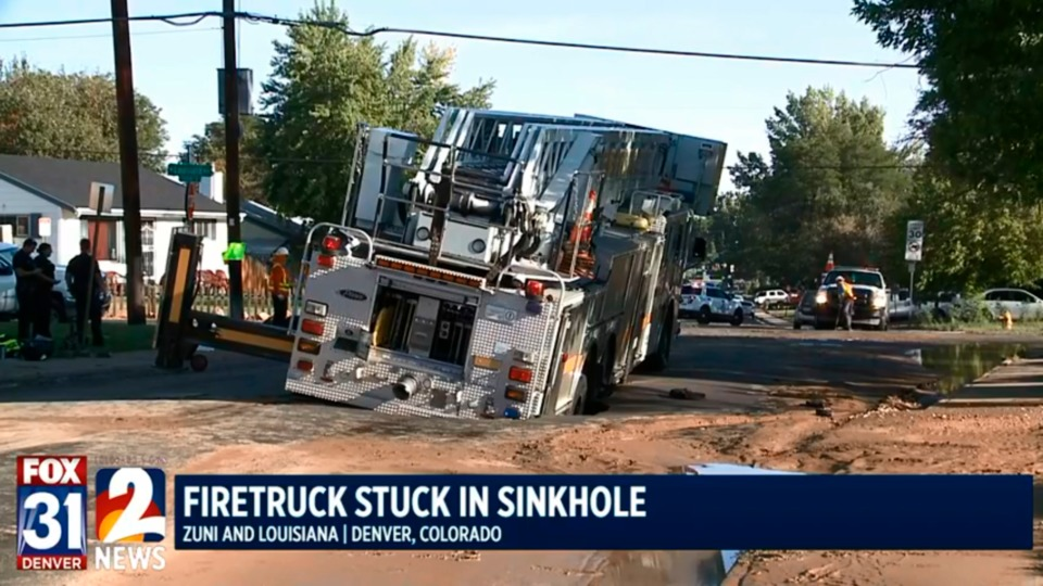 brief denver fire truck trapped in sinkhole on athmar park street