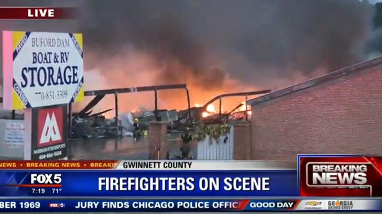 Buford GA Storage Fire Blaze Boats Destroyed Gwinnett County