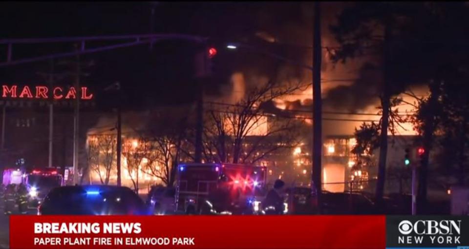 Blaze Engulfs Elmwood Park Nj Marcal Paper Factory