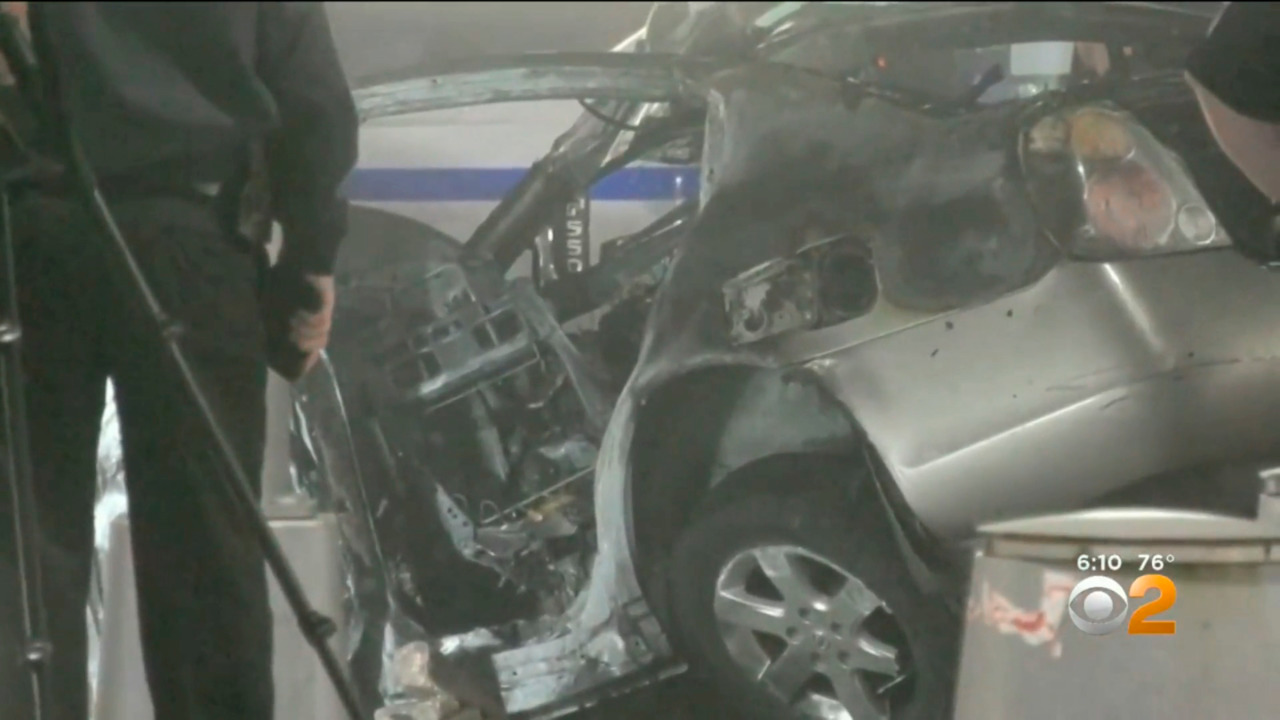Two Killed When Car Slams Into Divider Bursts Into Flames In Nyc