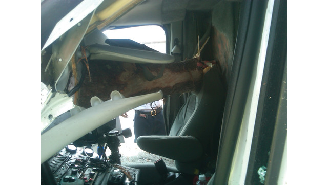 Close Calls: Log Impales Ambulance Cab
