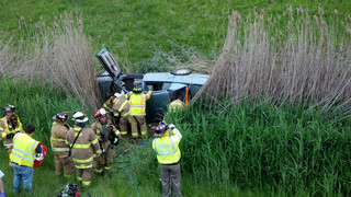 Photo Story: Driver Freed from Overturn in New York
